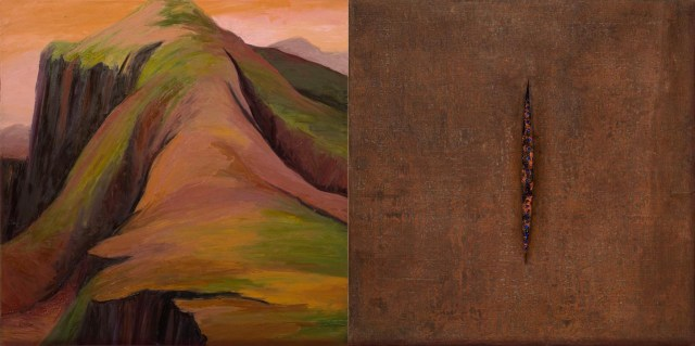 """Kay WalkingStick, """"Venere Alpina"""" (1997), oil on canvas (left), steel mesh over acrylic, wax, and plastic stones (right), 32 x 64 in, collection of the artist (photo by Lee Stalsworth, Fine Art through Photography, LLC)"""
