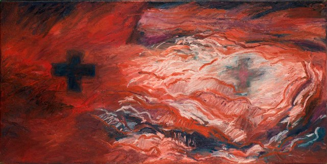 """Kay WalkingStick, """"Eternal Chaos / Eternal Calm"""" (1993), acrylic on canvas, 20.5 x 41 in, collection of the artist (photo by Lee Stalsworth, Fine Art through Photography, LLC)"""
