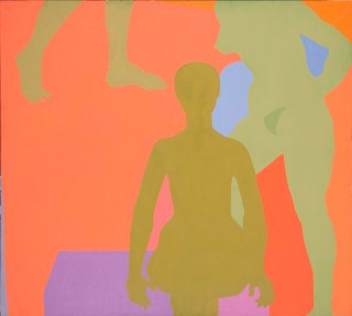 """Kay WalkingStick, """"Me and My Neon Box"""" (1971), acrylic on canvas, 54 x 60 in, collection of the artist (photo by Lee Stalsworth, Fine Art through Photography, LLC)"""