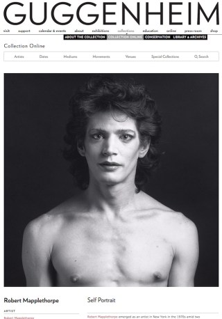 A portrait of Robert Mapplethorpe in the collection of the Solomon R. Guggenheim Foundation, which James R. Miller claims is his own work, not Mapplethorpe's. (screenshot by the author via guggenheim.org)