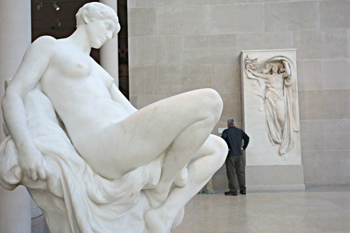 "Daniel Chester French's ""Memory"" (1886-87) and ""Mourning Victory from the Melvin Memorial"" (1906-08), both of which Munson is believed to have modeled for, on view at the Metropolitan Museum of Art"