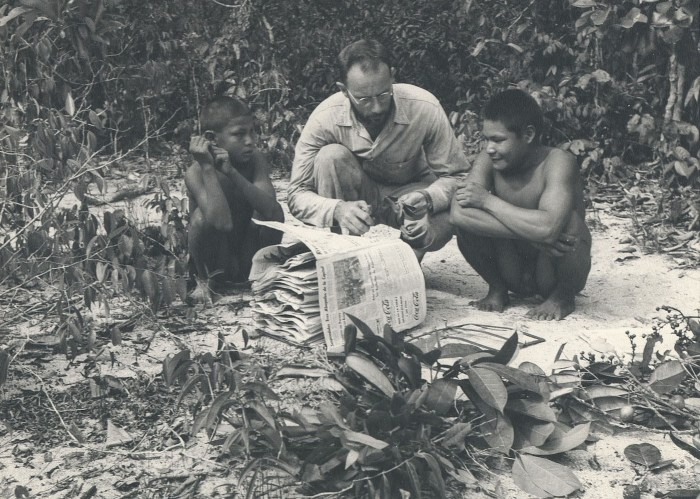 Richard Evans Schultes collecting plants with Maku assistants in 1952 (via Harvard University Herbaria)