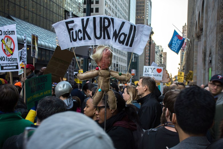 Protesters against Trump rallying in New York City on April 14, 2016 (photo by mal3k/Flickr)