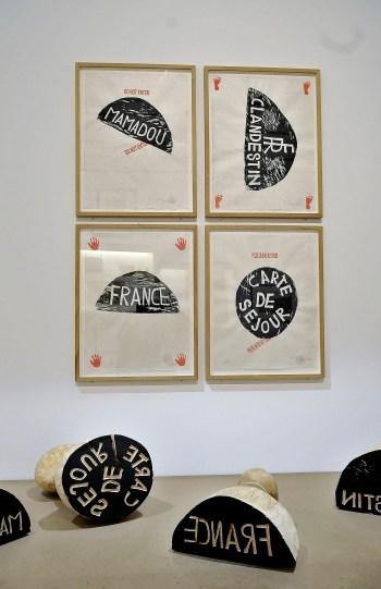 """Barthélémy Toguo, """"Carte de séjour, Mamadou, France, Clandestin"""" (2010) (Musée National de l'Histoire de l'Immigration, Palais de la Porte Dorée; © ADAGP)"""