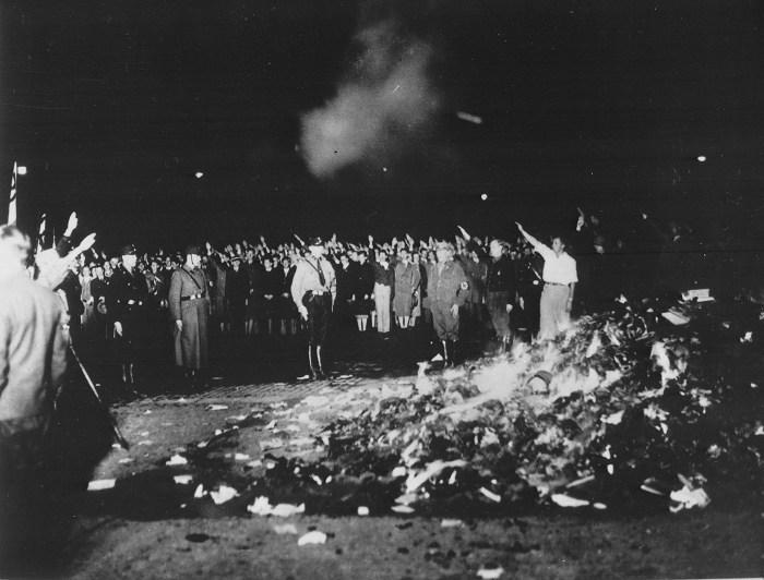 Berlin book burnings in Opernplatz. (photo courtesy German Federal Archive, via Wikipedia)