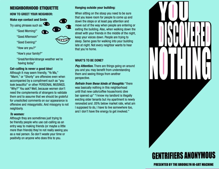 """Gentrifiers Anonymous pamphlet, """"You Discovered Nothing,"""" relating the 12 steps for resisting the process"""