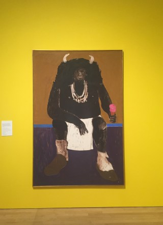 """Fritz Scholder, """"Super Indian No. 2"""" (1971), oil canvas, Promised gift from Vicki and Kent Logan to the Collection of Denver Art Museum (© Estate of Fritz Scholder) (click to enlarge)"""