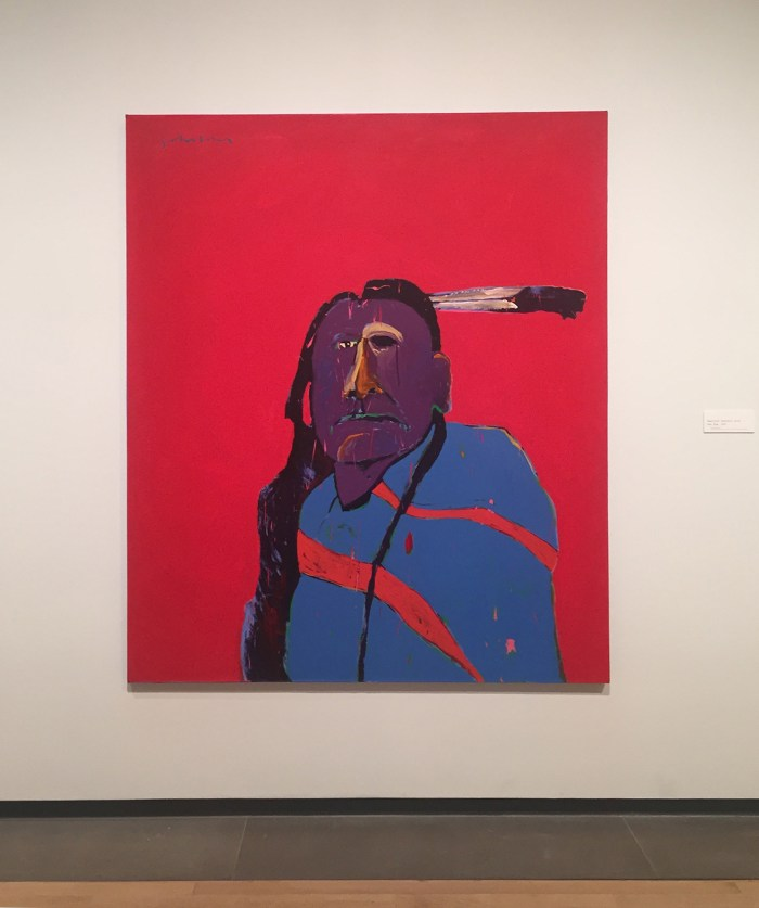 """Fritz Scholder, """"American Portrait with One Eye"""" (1975), acrylic on canvas, Promised Gift from Vicki and Kent Logan to the Collection of the Denver Art Museum (© Estate of Fritz Scholder)"""