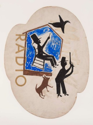 "Bill Traylor, ""Untitled (Radio)"" (1939-42), opaque watercolor and pencil on printed advertising cardboard, 32 1/2 × 24 1/2 inches (courtesy Smithsonian American Art Museum)"