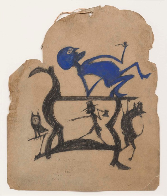 "Bill Traylor, ""Untitled (Legs Construction with Blue Man)"" (1939-42), opaque watercolor, pencil, and charcoal on cardboard, 12 3/4 × 10 1/2 inches (courtesy Smithsonian American Art Museum)"