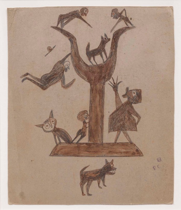 "Bill Traylor, ""Untitled (Construction with Yawping Woman)"" (1939-42), opaque watercolor and pencil on cardboard, 13 1/4 × 11 inches (courtesy Smithsonian American Art Museum)"