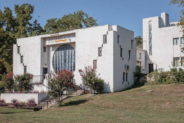 The Riverside Studio (now Tulsa Spotlight Theatre) in Tulsa, Oklahoma, designed by Bruce Goff and built in 1928 (photo by W. R. Oswald/Wikimedia)