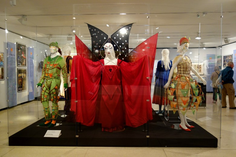 Installation view of 'Magical Designs for Mozart's Magic Flute,' with costumes designed by Julie Taymor in 2004 for the Metropolitan Opera