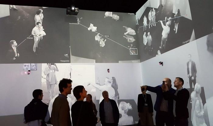 Inside Rafael Lozano-Hemmer and Krzysztof Wodiczko's installation, presented by Carroll / Fletcher