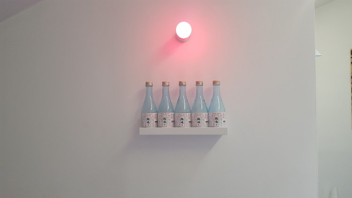 """Maria Hupfield and Jason Lujan, """"Drink Bar for Two"""" (2016), five sake bottles, pink light, self, 12 x 4 x 24 in (photo by the author for Hyperallergic)"""