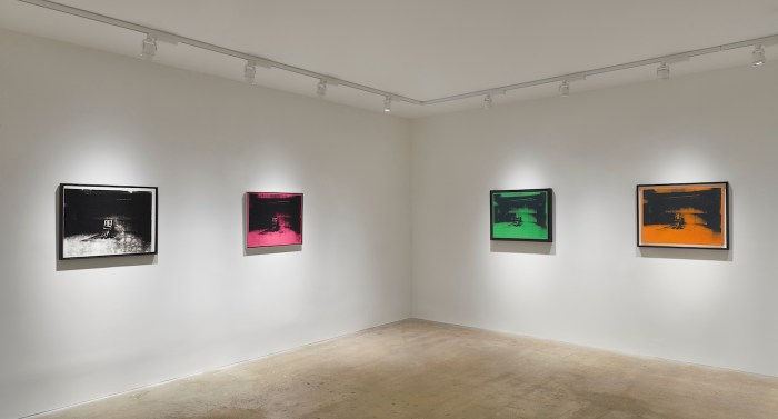 Installation view of Andy Warhol: Little Electric Chairs' at Venus Over Manhattan (courtesy VENUS New York and Andy Romer Photography)