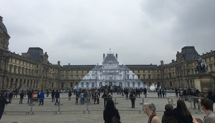 Installation view of 'JR at the Louvre' (all photos by the author for Hyperallergic)