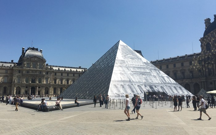 Installation view of 'JR at the Louvre'