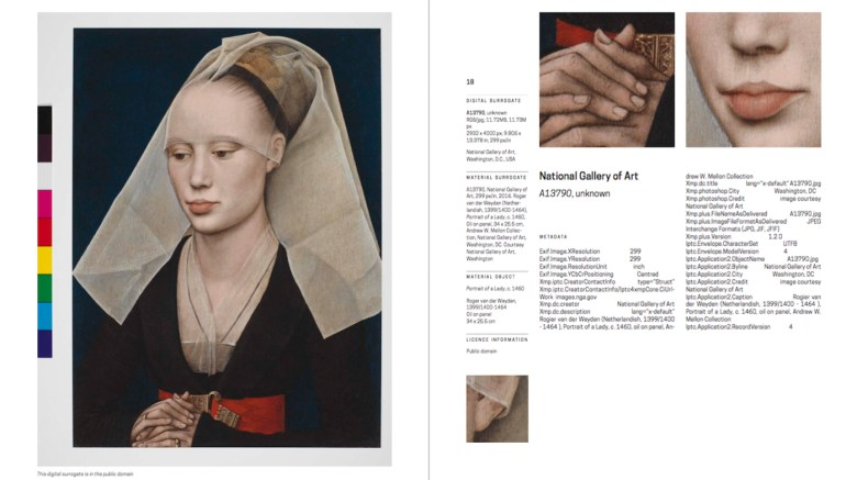 "A page from Display at Your Own Risk's catalog, detailing the information for ""A13790,"" or Roger van der Weyden's ""Portrait of a Lady"" (c. 1460) (click to enlarge)"
