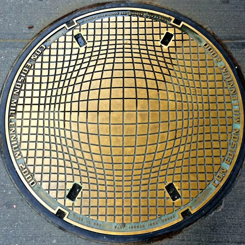 "The ""Millenium"" manhole designed by Karim Rashid at 4 Irving Place"