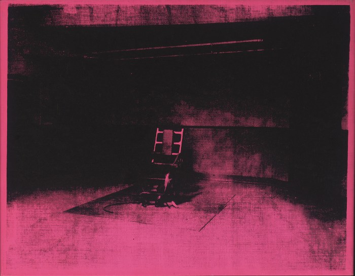 """Andy Warhol, """"Little Electric Chair"""" (1964), acrylic and silkscreen ink on canvas, 22 x 28 in"""