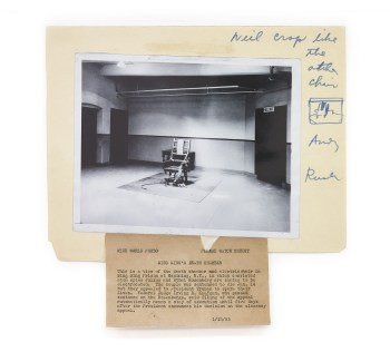 """Andy Warhol, """"Photograph ('Sing Sing Death Chamber')"""" (1962–63), facsimile of original gelatin silver print on Manila file folder and ink, 20 5/8 x 11 13/16 in"""