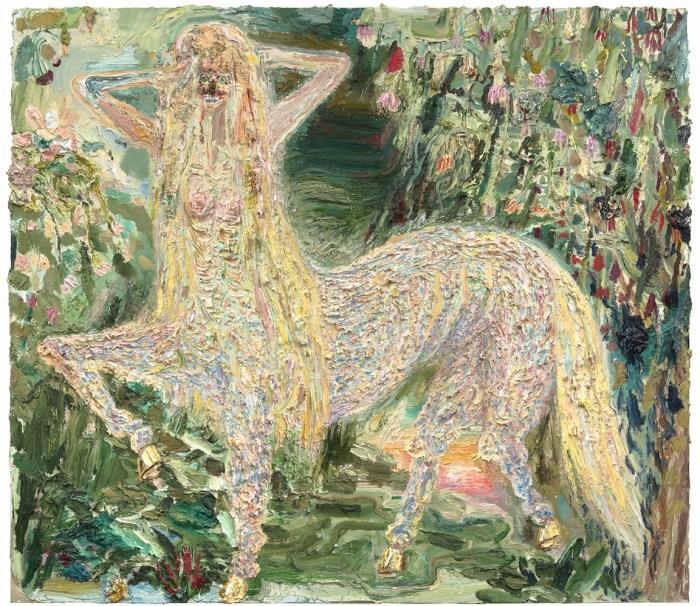 Allison Schulnik, Centaurette In Forest, 2015. Oil on linen. 79 x 90 inches.