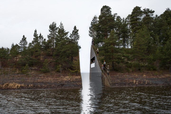 "Rendering of Jonas Dahlberg, ""22 July Memorial at Sørbråten"" (all images courtesy Jonas Dahlberg Studio)"