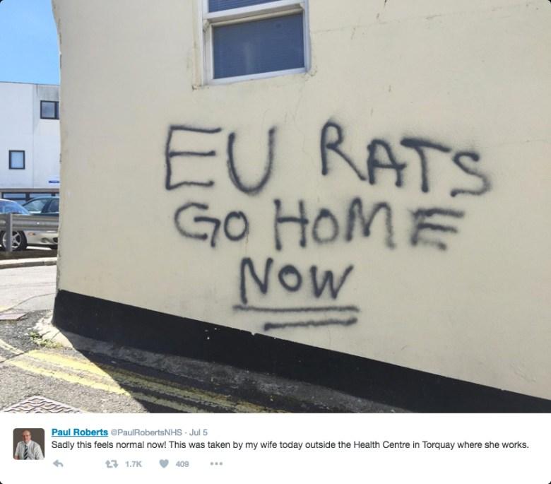 Post-Brexit graffiti in the UK (screenshot via @PaulRobertsNHS/Twitter)