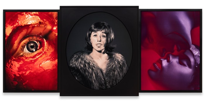 """Cindy Sherman """"Untitled #559"""" (2015) Three dye sublimation metal prints 120,7 x 266,4 x 5,1 cm (overall dimensions) 47 1/2 x 104 7/8 x 2 inches (overall dimensions)(framed) © Cindy Sherman Courtesy the artist, Metro Pictures and Spruth Magers"""