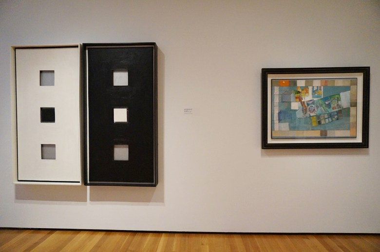 """Left: Sol LeWitt, """"Double Wall Piece"""" (1962), oil on canvas and wood; right: Eva Hesse, No title (1964), collage, ink, and watercolor on paper"""