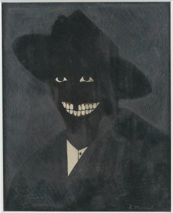 """Kerry James Marshall, """"A Portrait of the Artist as a Shadow of His Former Self"""" (1980), Steven and Deborah Lebowitz (photo by Matthew Fried, © MCA Chicago)"""