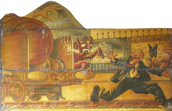 Hall & Fowle, Brett's 'Ghost Train' (showfront) (from a design by Edwin Hall) (1948-49), oil on metal (courtesy the Fairground Heritage Trust)