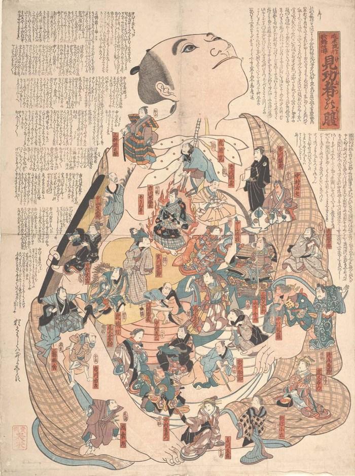"Unknown artist, ""Internal bodily functions dramatized by popular kabuki actors (Kinrai ryūkō kabuki uwasa Kenbutsu no hara)"" (late 19th century), woodblock (courtesy UC San Francisco, Special Collections)"