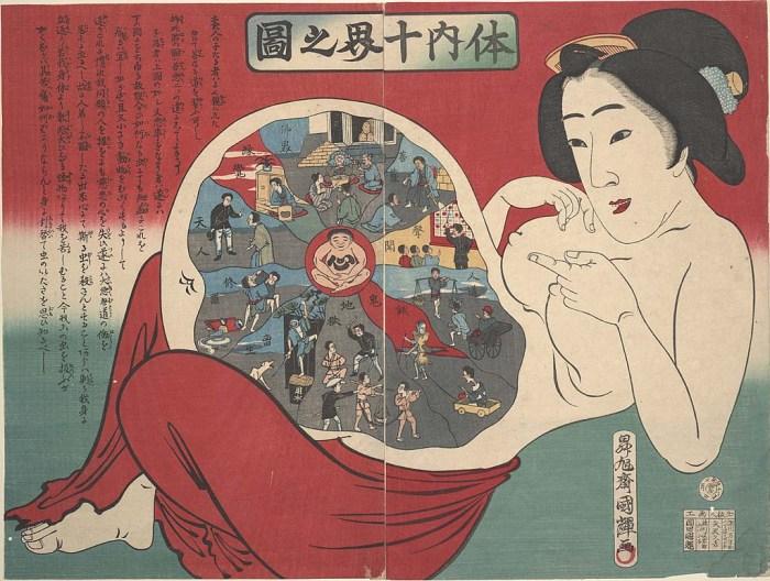 "Kuniteru Utagawa III, ""Ten realms within the body (Tainai jukkai no zu)"", woodblock (courtesy UC San Francisco, Special Collections)"