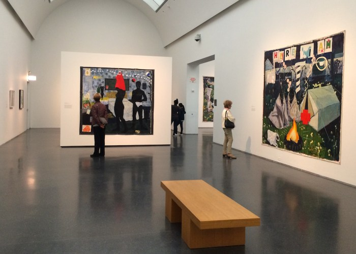 Installation view of 'Kerry James Marshall: Mastry' at the Museum of Contemporary Art Chicago (photo by the author for Hyperallergic)
