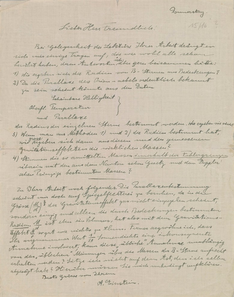 Albert Einstein's Letter to Erwin Finlay Freundlich (after December 15, 1919) (courtesy the Morgan Library& Museum, Gift of Mr. Horace Wood Brock, Mr. John Biddle Brock, and Ms. Hope) Brock Winthrop, in loving memory of their parents, Horace Brock (1918–1981) and Hope Distler<br srcset=