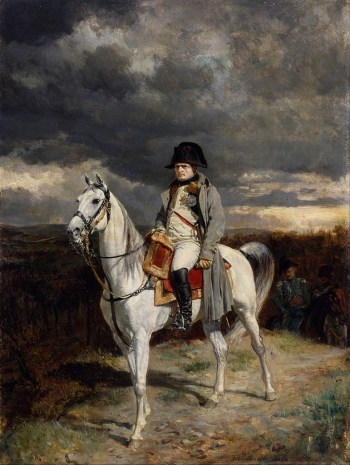 "Jean-Louis-Ernest Meissionier, ""1814"" (1862), oil painting. It's believed to depict Napoléon riding le Vizir (via Walters Art Museum/Wikimedia)"