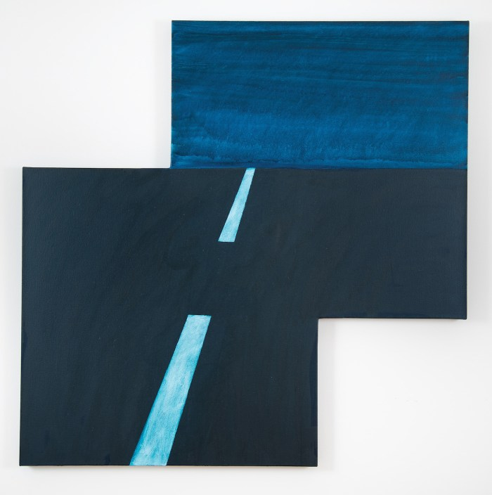 """Mary Heilmann, """"Maricopa Highway"""" (2014), oil on canvas, acrylic and watercolor on canvas (©Mary Heilmann, photo by Marie Catalano; courtesy of the artist, 303 Gallery, New York, and Hauser & Wirth)"""