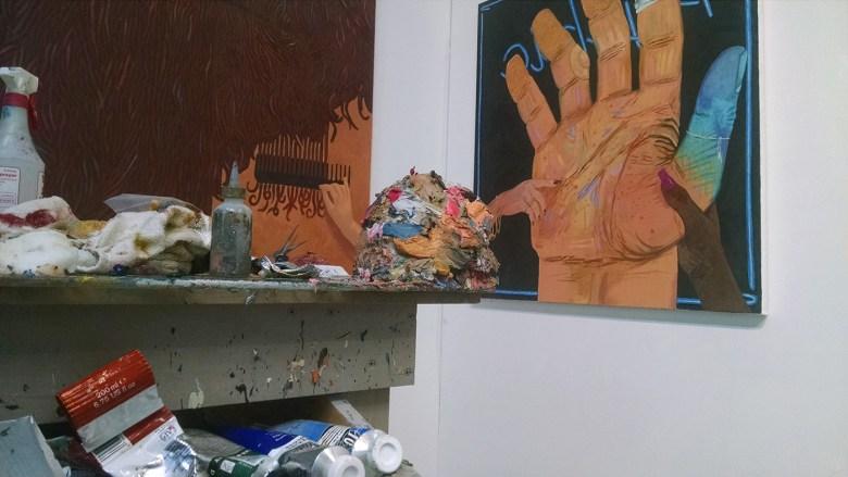 Wax mound in Paul Gagner's studio