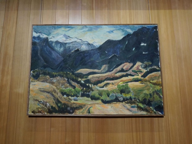 """Isabelle Johnson's """"East Fiddler Creek"""" (1967) hanging in the Olivier Music Barn at Tippet Rise (click to enlarge)"""