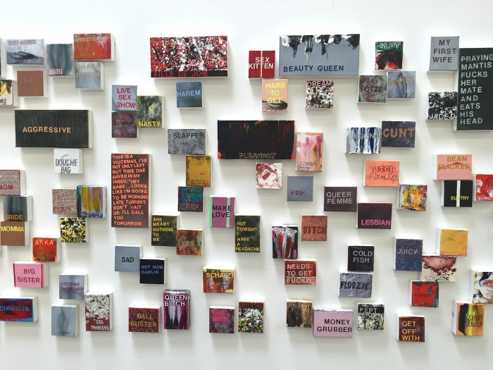 "Betty Tompkins, installation view of ""WOMEN: Words, Phrases, and Stories"" (photo by the author for Hyperallergic)"