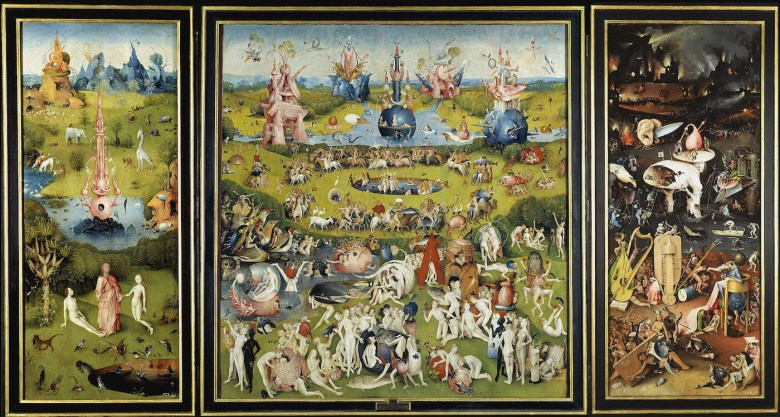The Garden of Earthly Delights. wikidata:Q321303 Datebetween 1480 and 1505 Medium oil on panel Dimensions Height: 220 cm (86.6 in). Width: 390 cm (153.5 in). (via Wikimedia Commons)