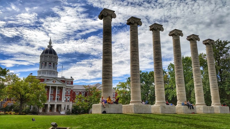 The Columns at the University of Missouri: Row of six Ionic columns from the portico of Academic Hall; the remainder of the building was destroyed by fire in 1892. (Image via Wikimedia Commons)
