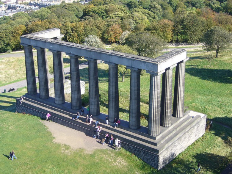 National Monument of Scotland on Calton Hill, Edinburgh: an incomplete full-scale replica of the Parthenon, abandoned in 1829 for lack of funds. (Image via Wikimedia Commons)