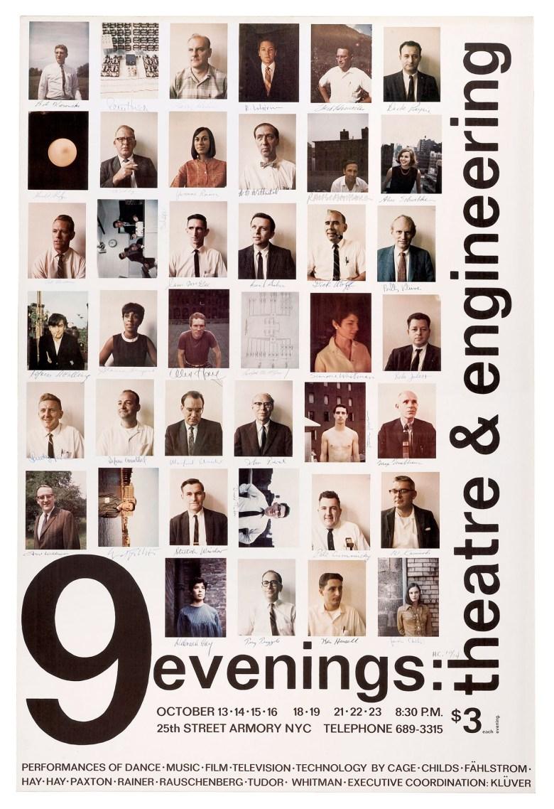 Robert Rauschenberg, '9 evenings: theatre & engineering' (1966) offset poster (image courtesy Robert Rauschenberg Foundation)