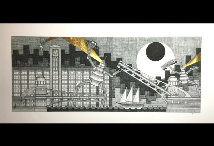 Chicago-Robots ! 2016 25 x 9 3/4 inches Pen and ink on paper with 24 carat gold leaf