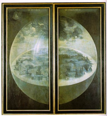 Creation Description Exterior (shutters) of The Garden of Earthly Delights. Date between 1480 and 1490 Medium oil on panel Dimensions Height: 220 cm (86.6 in). Width: 195 cm (76.8 in).