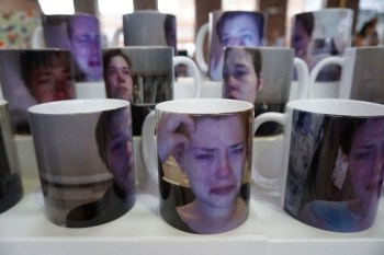 Sessa Englund's crying mugs (photo by the author for Hyperallergic)