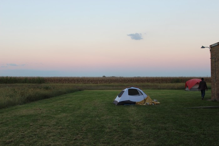 A section of the weekend's on-site campground (photo by the author for Hyperallergic